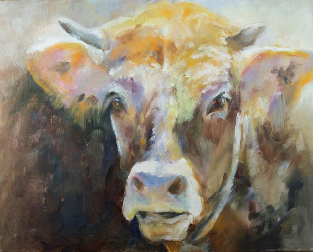 """Studying Cow"" original fine art by Sue Churchgrant"