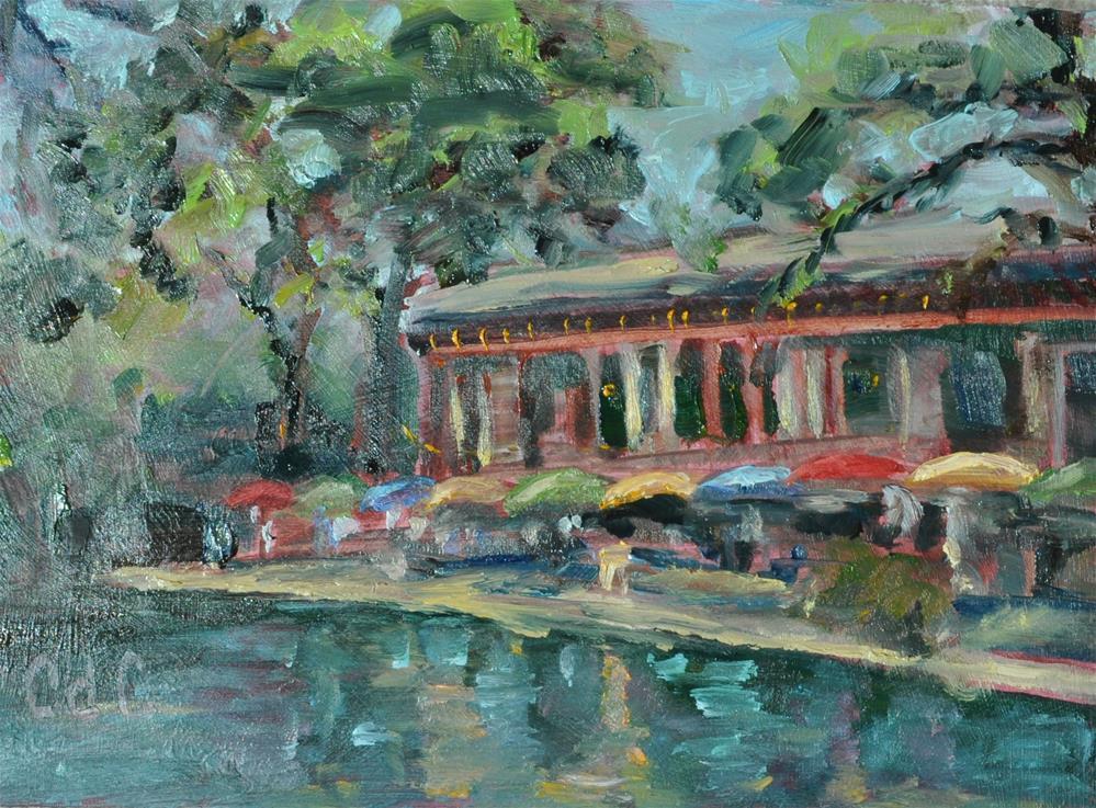 """Restaurant Along the Riverwalk"" original fine art by Catherine Crookston"