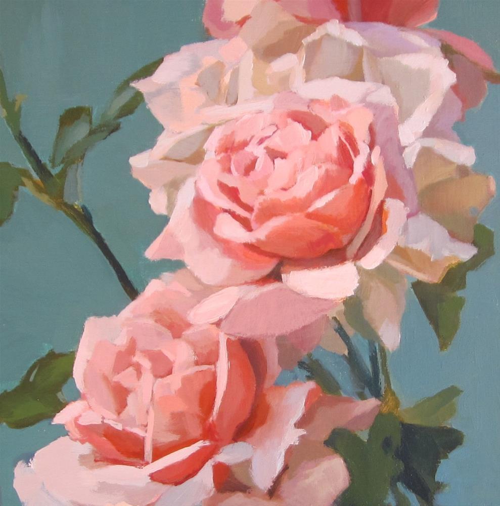 """Pink with Green"" original fine art by Kaethe Bealer"