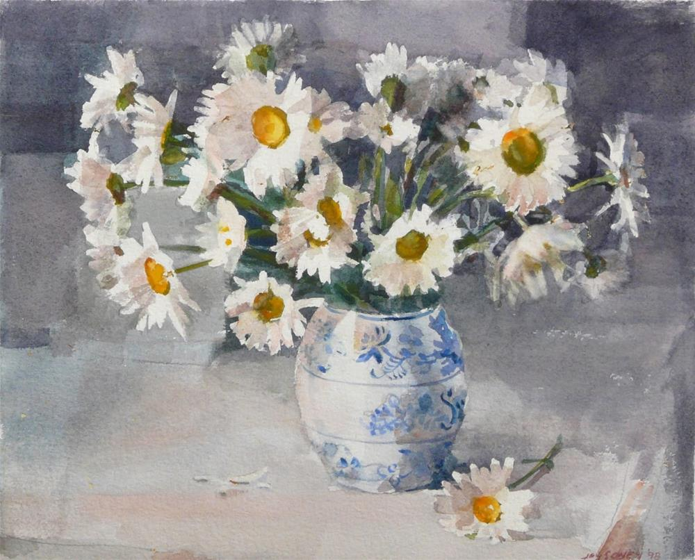 """""""Daisies in Blue and White Vase,still life,watercolor,10x12,priceNFS"""" original fine art by Joy Olney"""