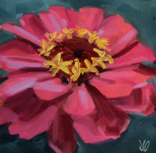 """Hot Pink Zinnia"" original fine art by Jessica Green"