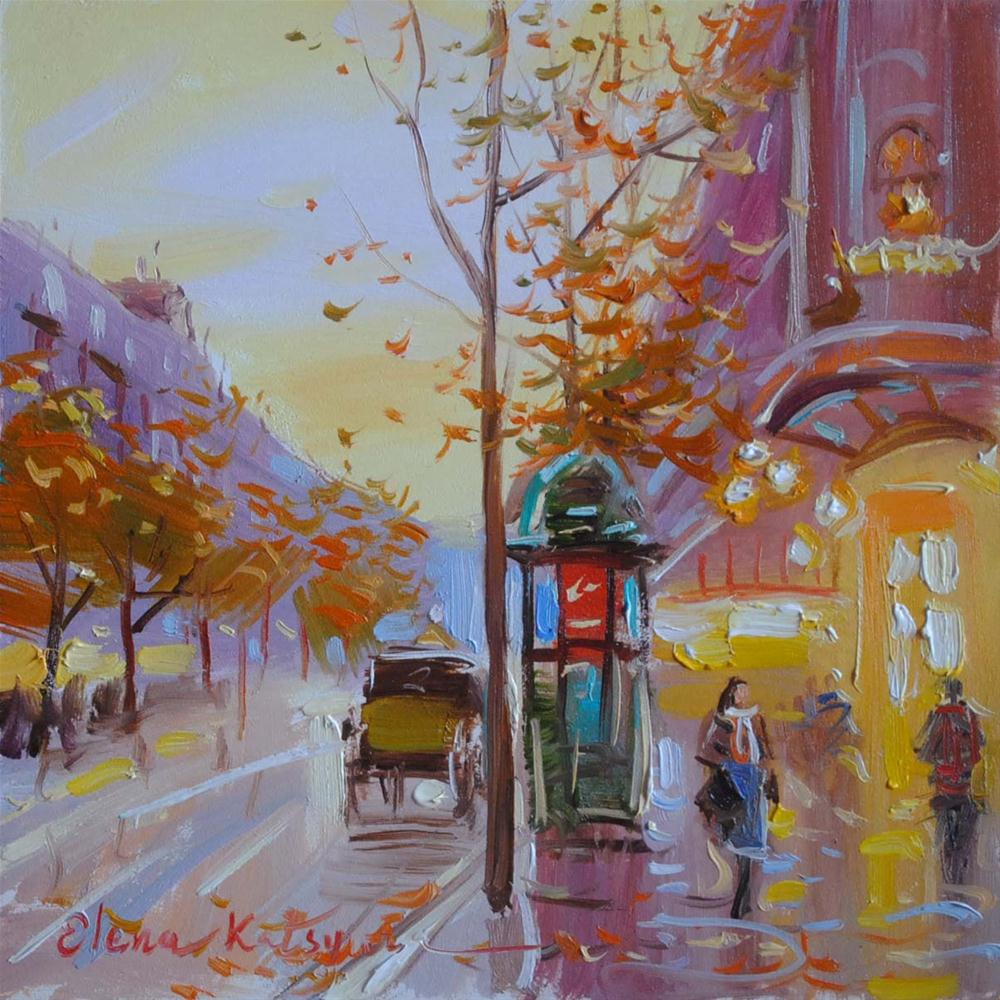 """""""Autumn Day in Paris"""" original fine art by Elena Katsyura"""