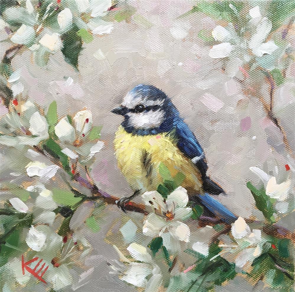 """Blue Tit in Blossoms"" original fine art by Krista Eaton"