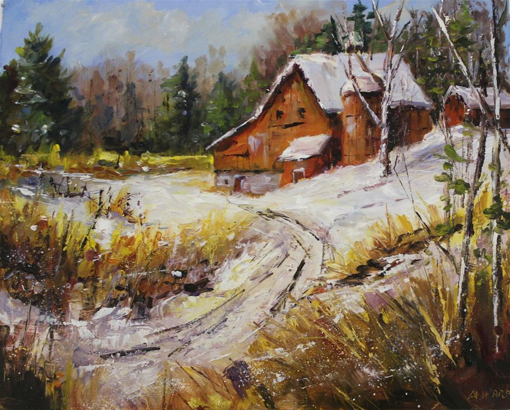 """Original oil barn landscape midwest rural country painting"" original fine art by Alice Harpel"