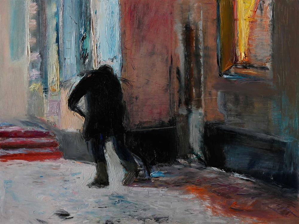 """""""A Man Shoveling Snow"""" original fine art by Anna Fine Art"""