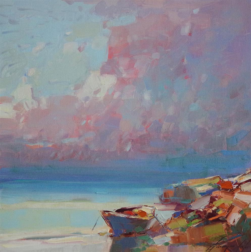 """Seashore, Original oil Painting, Handmade artwork,"" original fine art by V Y"