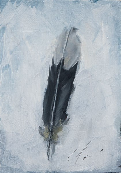 """Mockingbird Feather"" original fine art by Clair Hartmann"