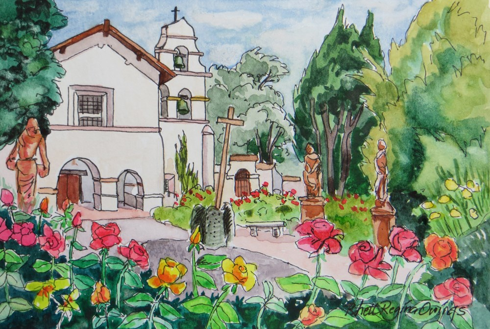 """San Juan Bautista Mission Courtyard"" original fine art by Rhett Regina Owings"