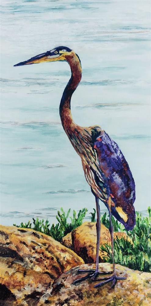 """The Heron"" original fine art by Nan Johnson"
