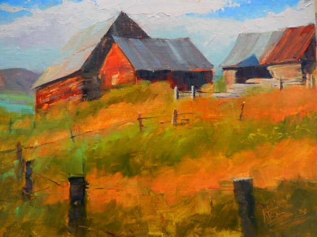 """""""Centennial Barns Crested Butte, plein air air, barn painting by Robin Weiss"""" original fine art by Robin Weiss"""