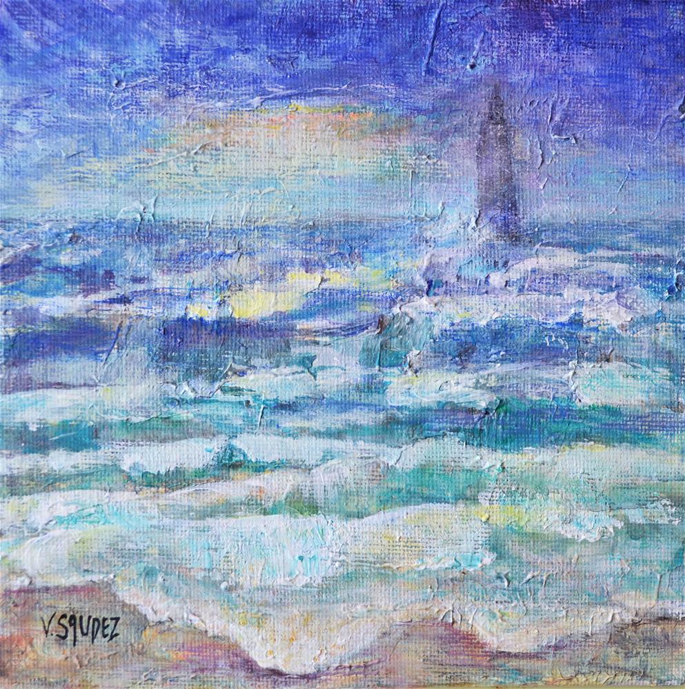 """""""Lighthouse on the waves"""" original fine art by Véronique Saudez"""