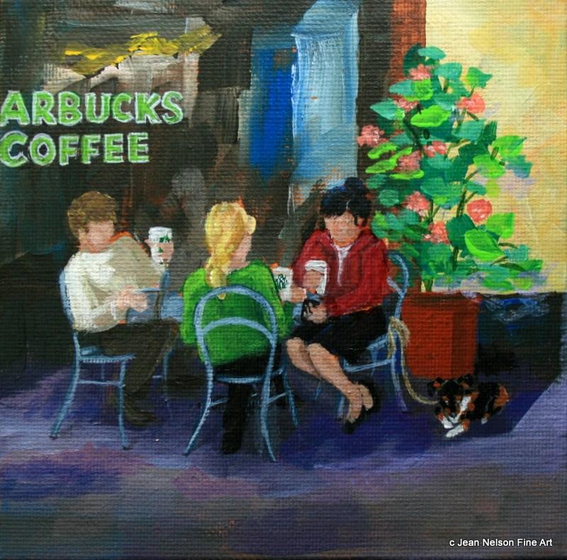 """""""Street Cafe"""" original fine art by Jean Nelson"""