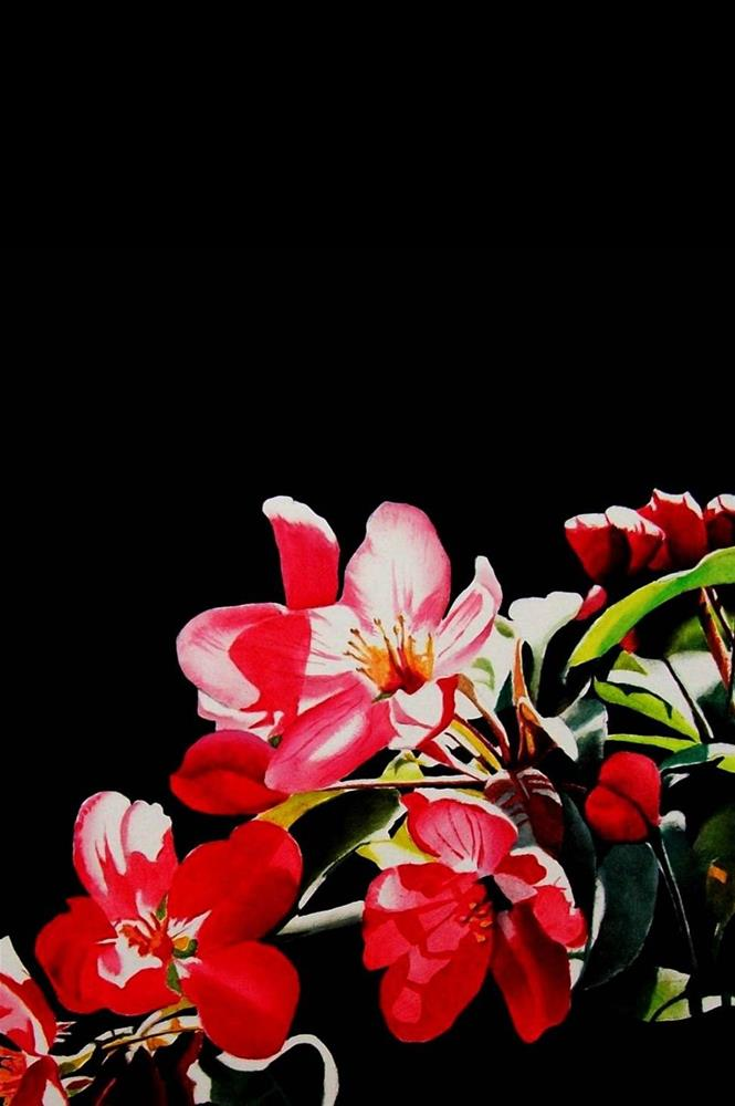 """Red Blossoms"" original fine art by Jacqueline Gnott, TWSA, WHS"