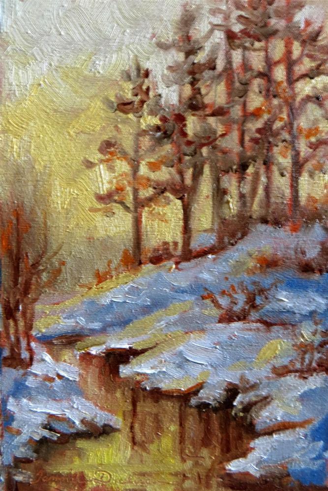 """""""Golden Winter Stream"""" original fine art by Tammie Dickerson"""
