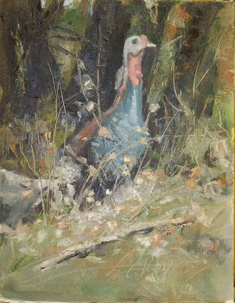 """Hiking with the Wild Turkey"" original fine art by Cheryl Williams Dolan"