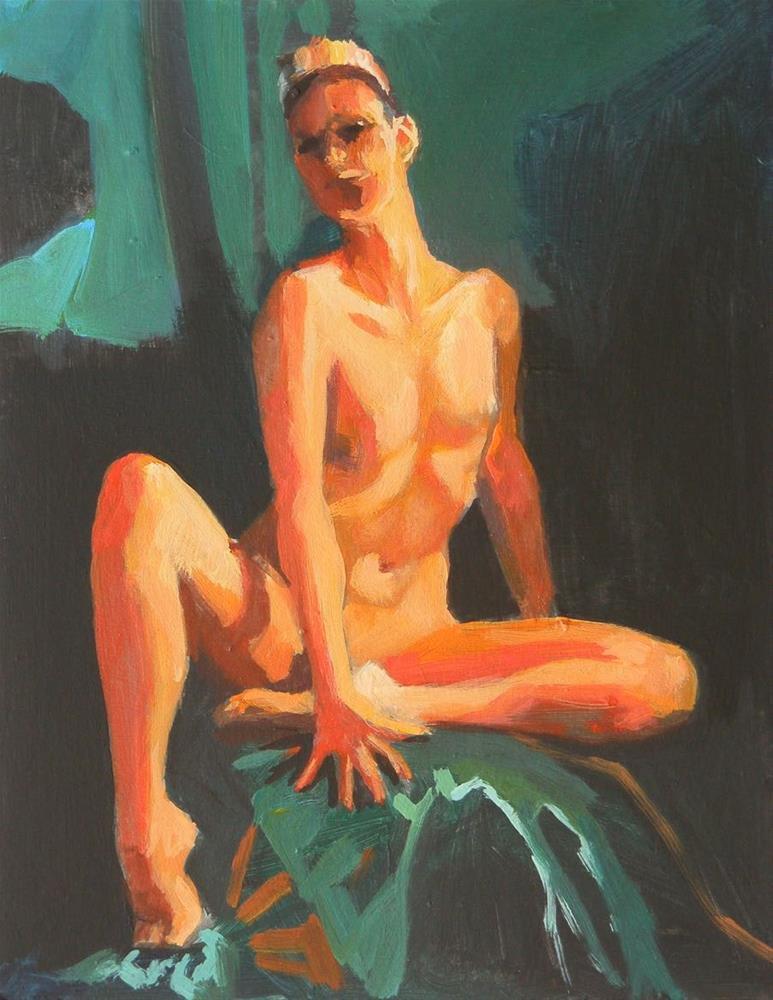 """red light green background"" original fine art by Peter Orrock"