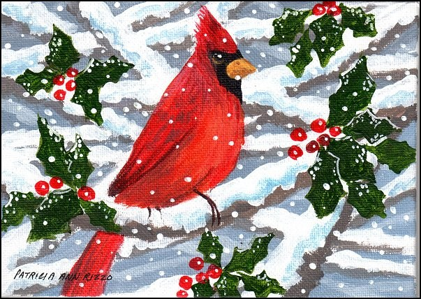 """A Cardinal in the Snow"" original fine art by Patricia Ann Rizzo"
