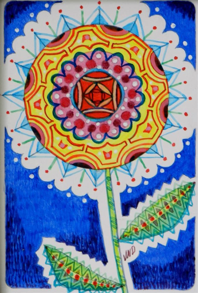 """Zen'tangle Flower"" original fine art by Velma Davies"