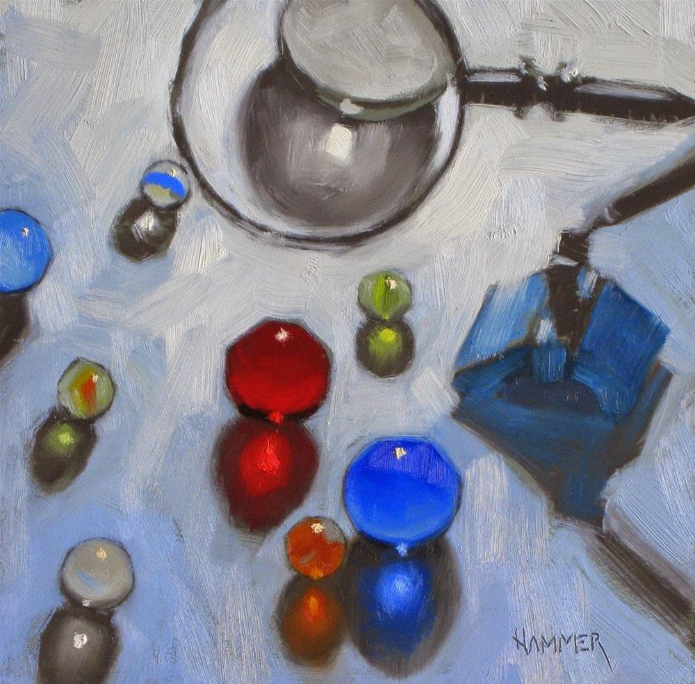 """The examination  6 x 6 oil"" original fine art by Claudia Hammer"