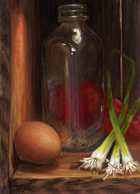 """Milk bottle with eggs, onions and pepper"" original fine art by Ruth Van Egmond"