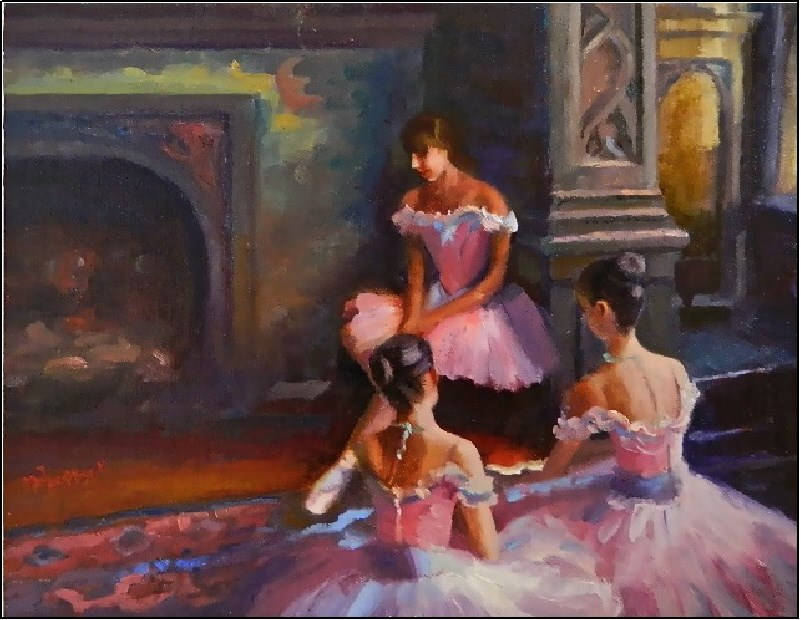 """A Degas Moment, 14x11, oil on linen, paintings of dancers, ballet, young dancers, pink, tutus"" original fine art by Maryanne Jacobsen"