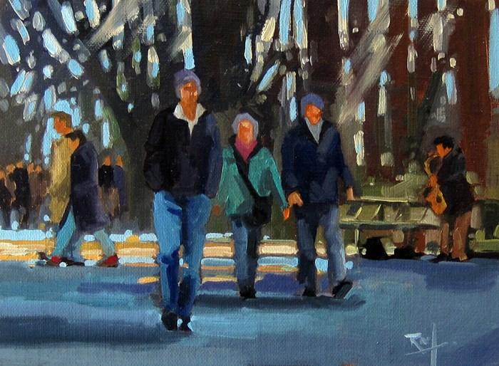 """""""No 808 Afternoon Walk"""" original fine art by Robin J Mitchell"""