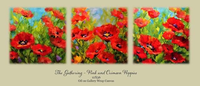 """The Gathering - Poppy Painting Triptych by Texas Flower Artist Nancy Medina"" original fine art by Nancy Medina"