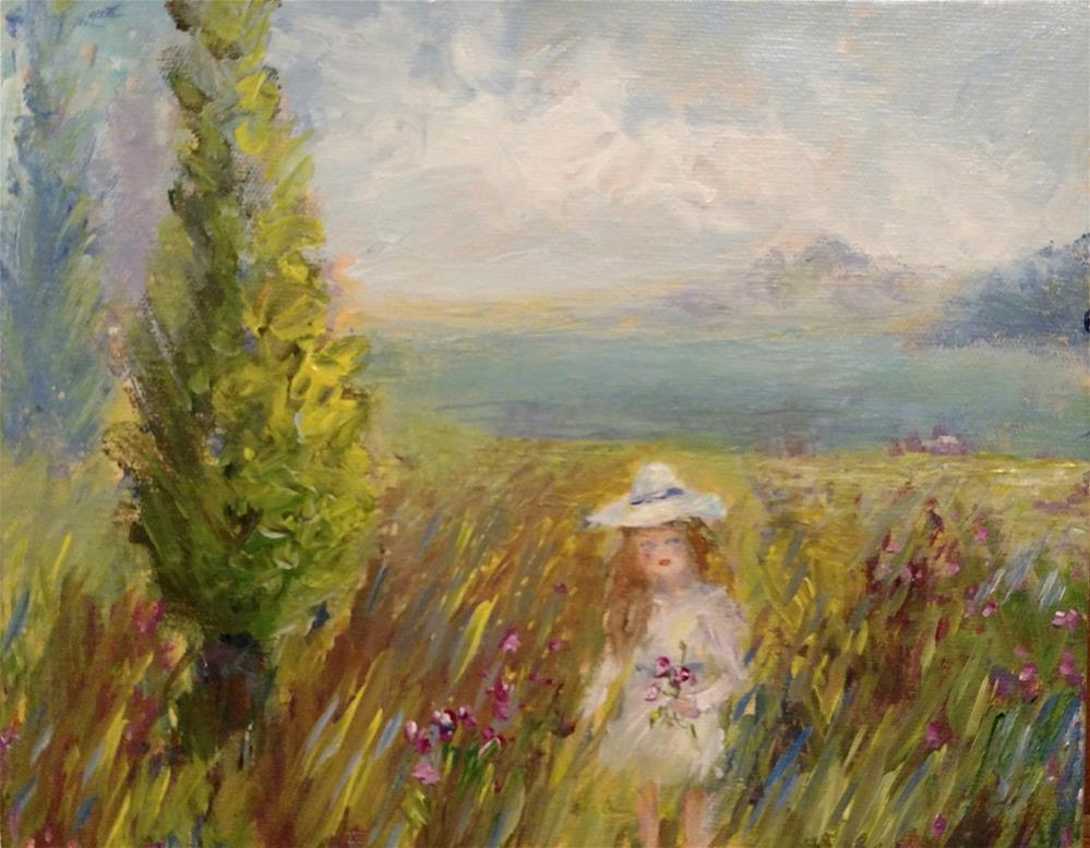 """""""Picking Posies by the Sea"""" original fine art by S. Lynne Price"""