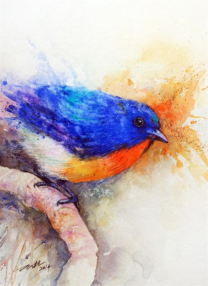 """""""The Blue Bird"""" original fine art by Arti Chauhan"""