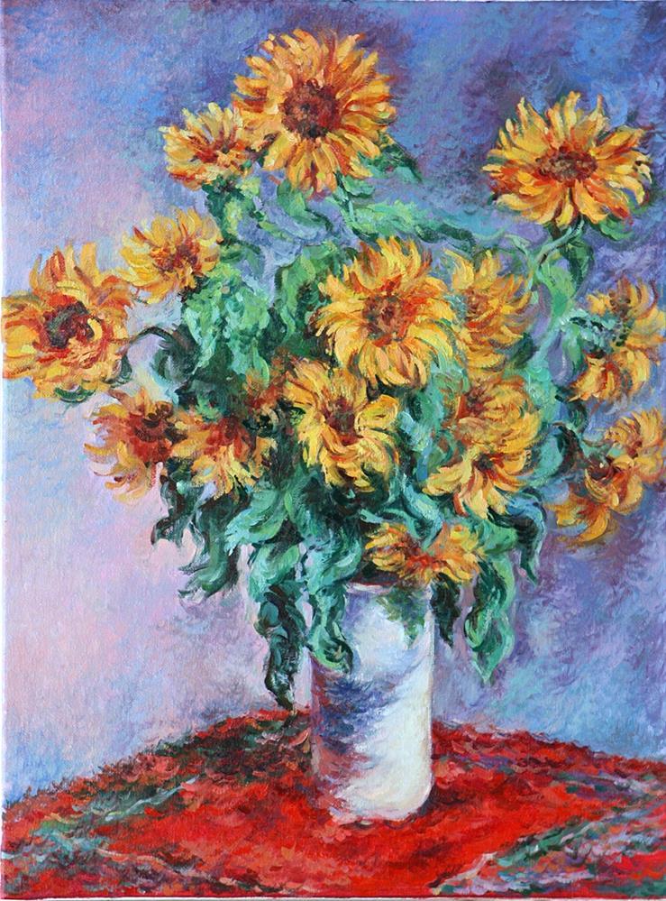 """Copy of Impressionist Claude Monet's still life Bouquet of Sunflowers."" original fine art by Larisa Nikonova"