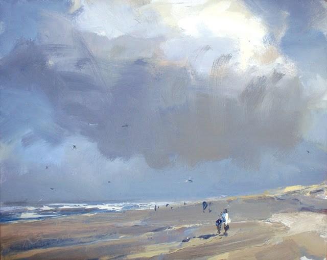 """Seascape winter #22 Cloud, sunny cold beach"" original fine art by Roos Schuring"