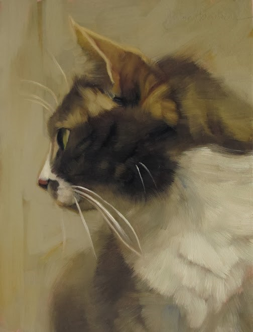 """Profiled small oil painting of a cat by Hoeptner"" original fine art by Diane Hoeptner"
