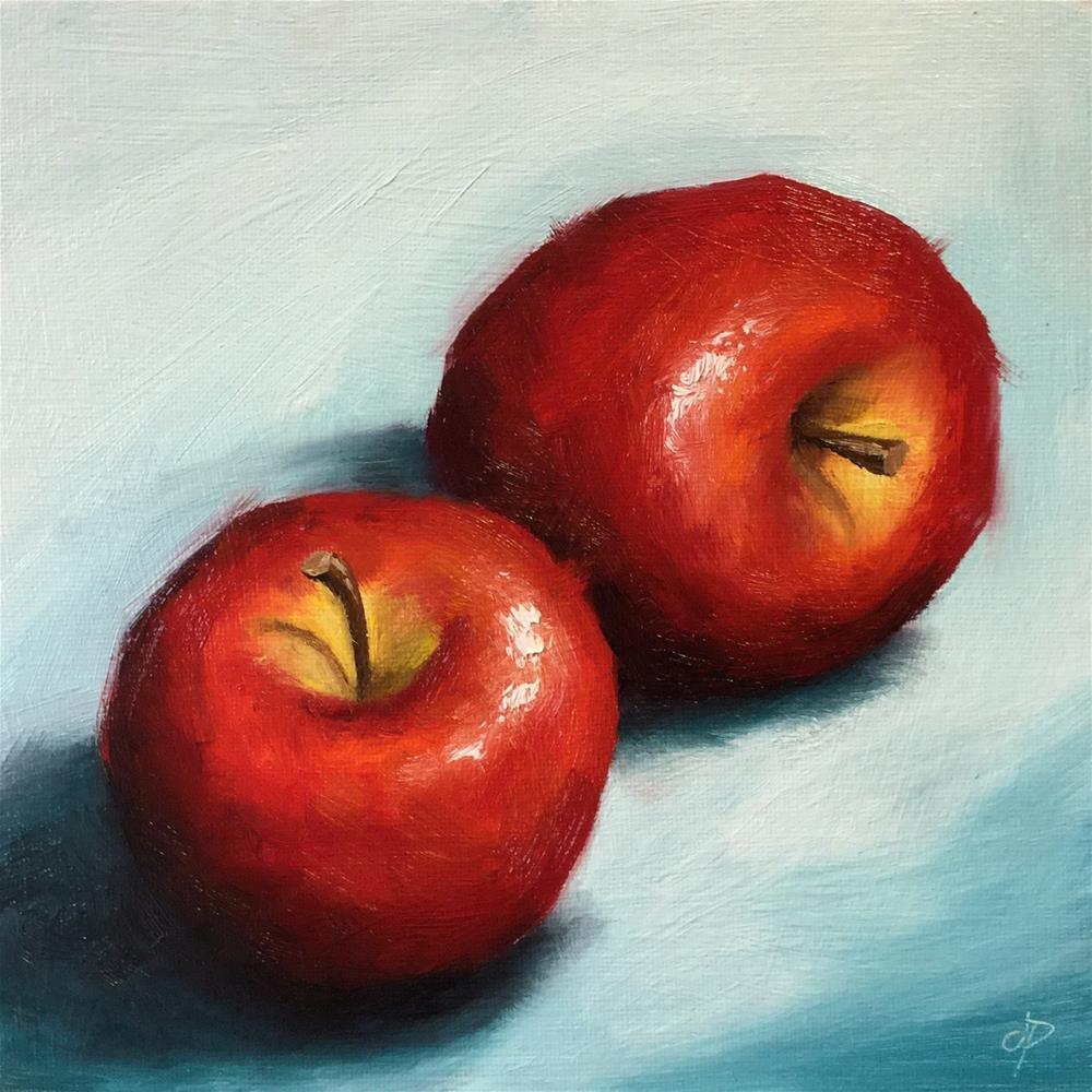 """Two Apples"" original fine art by Jane Palmer"