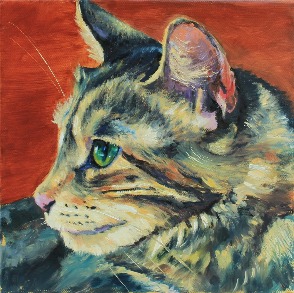"""cat portrait in profile"" original fine art by Marco Vazquez"
