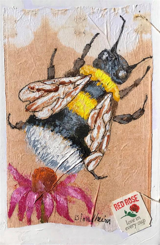 """Tea Bag Painting Bumble Bee"" original fine art by Linda Blondheim"
