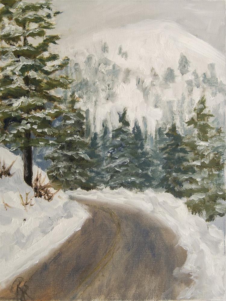 """Road through Winter Evergreens"" original fine art by Rachel Steely"