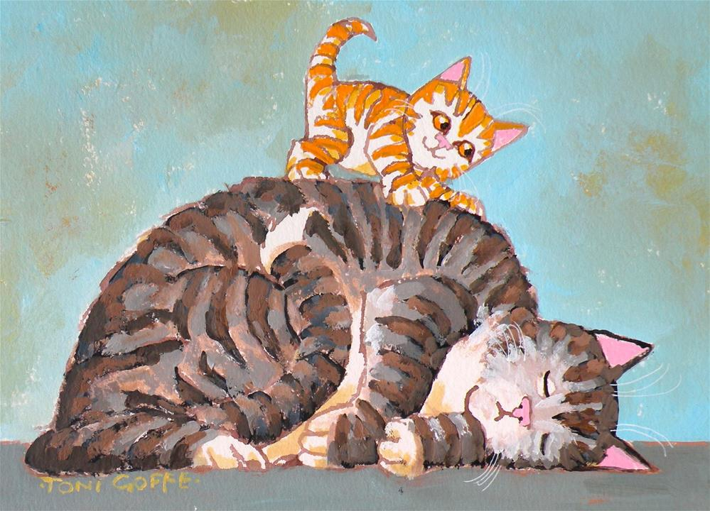 """""""Wake Up and play with Me!"""" original fine art by Toni Goffe"""