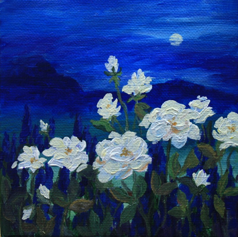 """Moonlight and Wild Roses"" original fine art by Jean Nelson"