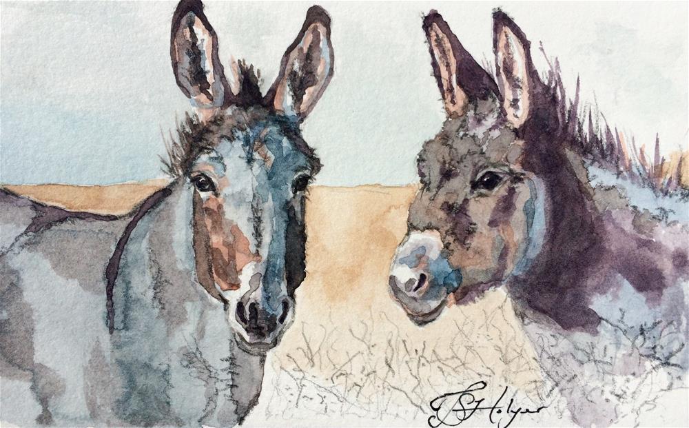 """Two Burros"" original fine art by Jen Holyer"