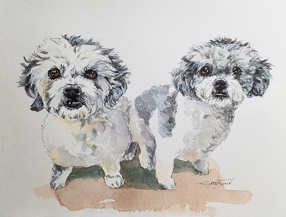 """Dogs"" original fine art by Gabriella DeLamater"