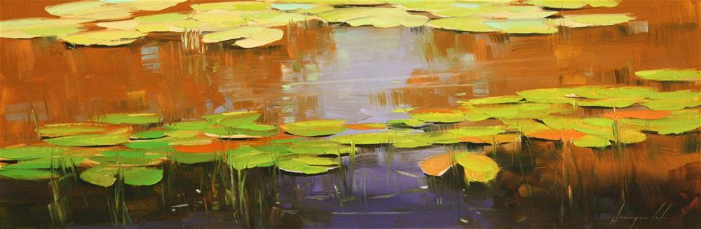 """""""WATERLILIES OIL PAINTING ON CANVAS"""" original fine art by V Y"""