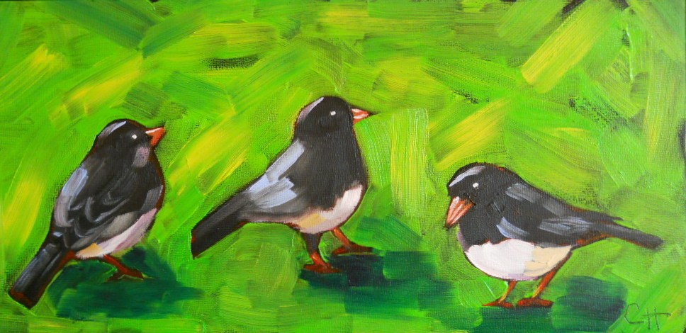 """Three Juncos"" original fine art by Claire Henning"