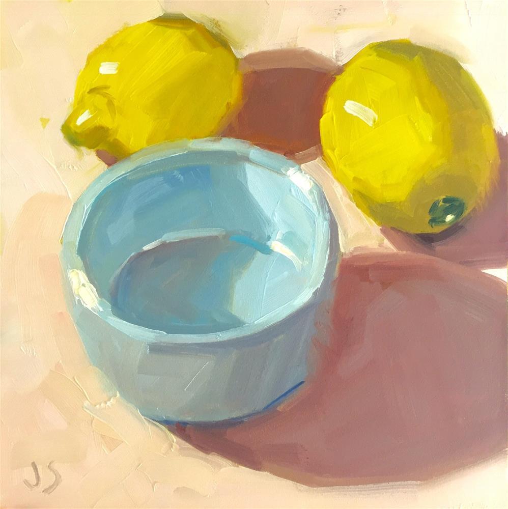 """Lemons and Blue Bowl"" original fine art by Jamie Stevens"