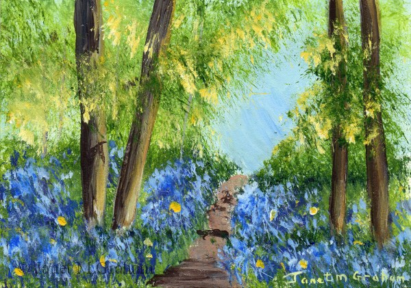 """""""Bluebell Path 2 ACEO"""" original fine art by Janet Graham"""