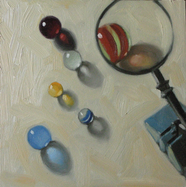 """""""Inspecting my marbles 6x6 oil"""" original fine art by Claudia Hammer"""