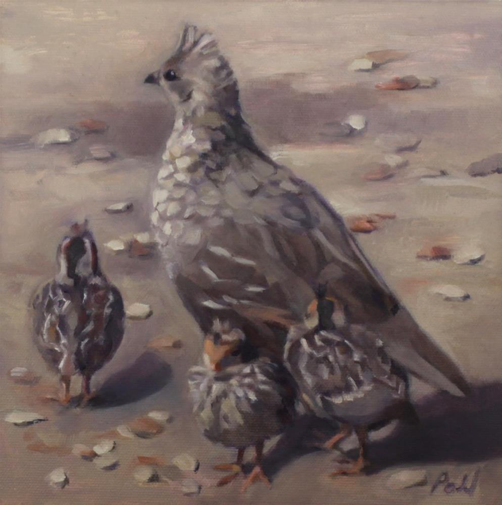"""""""Quail With Chicks (framed)"""" original fine art by Pamela Poll"""