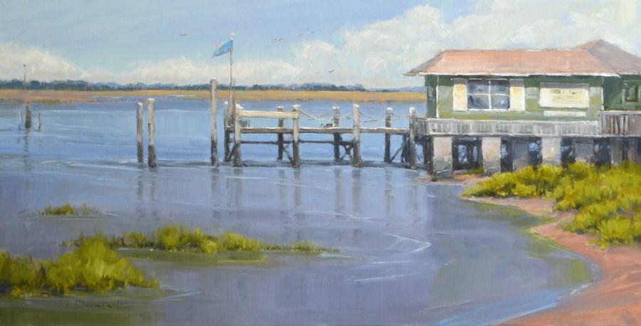 """Dockside Currents - American Women Artists Museum Show"" original fine art by Laurel Daniel"