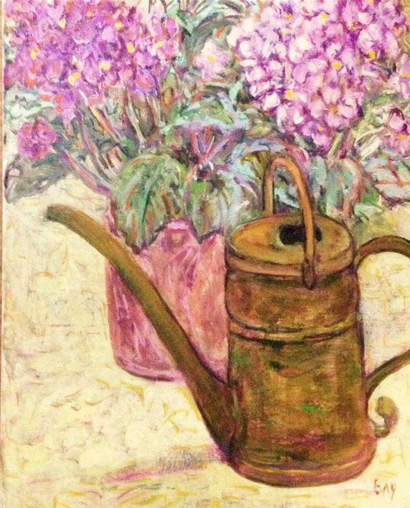 """WATERING CAN WITH VIOLETS"" original fine art by barbara yongue"