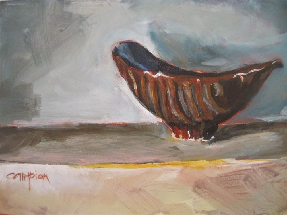 """486 Empty Brown Bowl"" original fine art by Diane Campion"