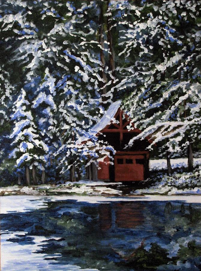 """Winter Cabin"" original fine art by Nan Johnson"
